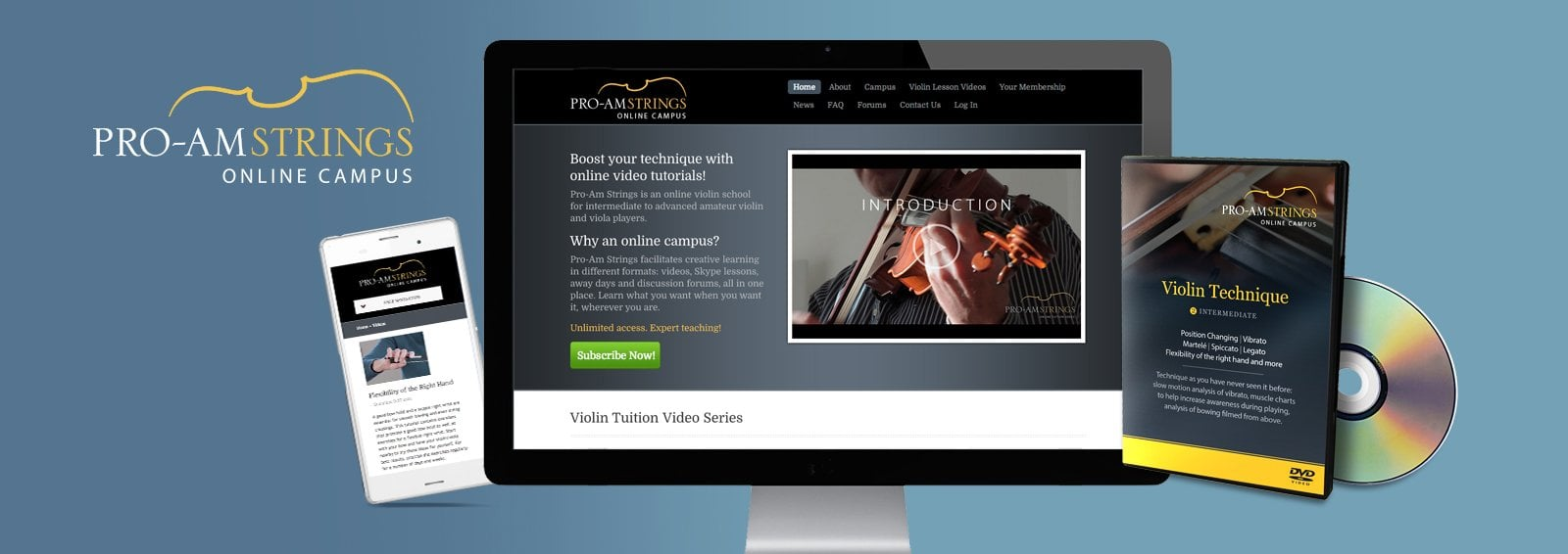 Responsive Website Design for Pro-Am Strings by Cameron Creative, Norwich