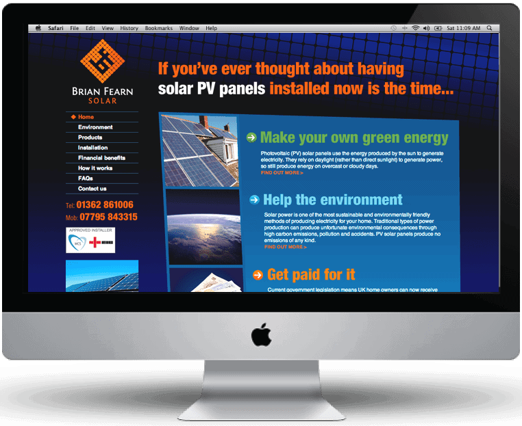 BF Solar website design by Cameron Creative, Norwich