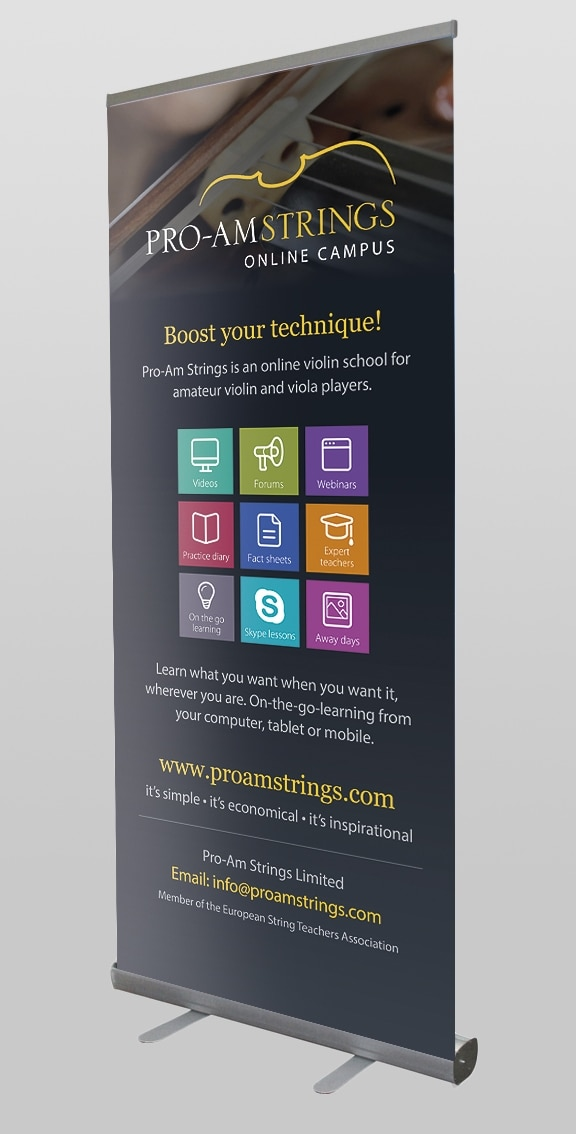 Pro-am Strings Roller Banner Design by Cameron Creative