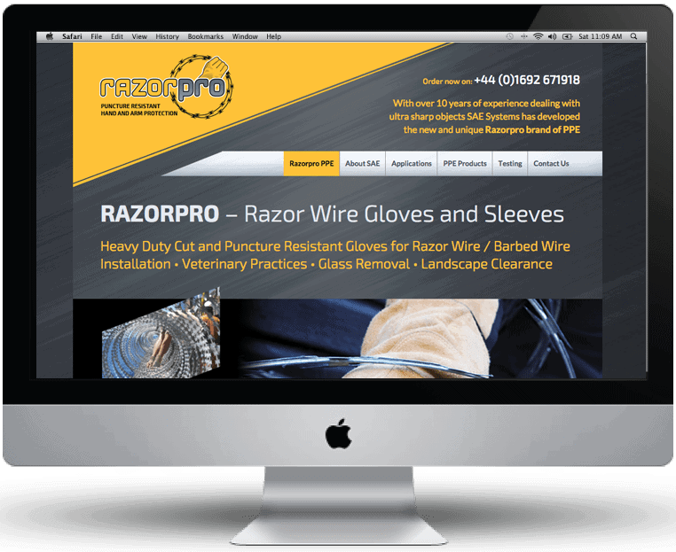 Razorpro website design by Cameron Creative, Norwich