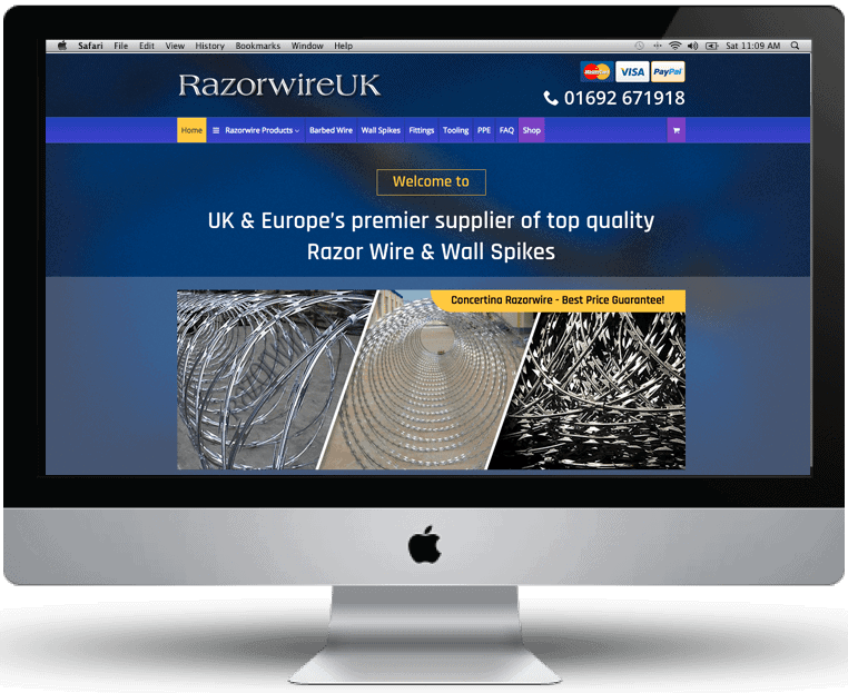 RazorwireUK website design by Cameron Creative, Norwich