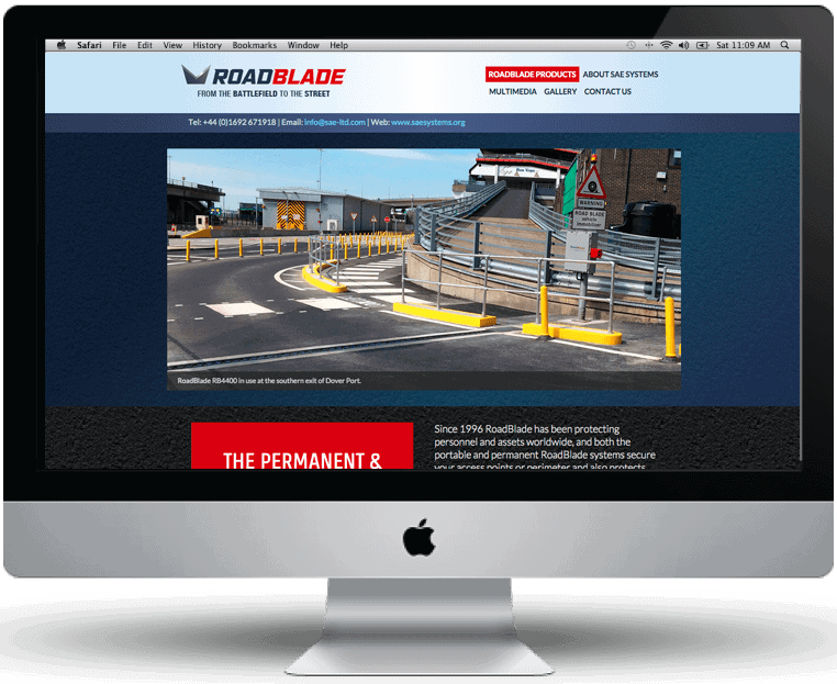 Roadblade website design by Cameron Creative, Norwich