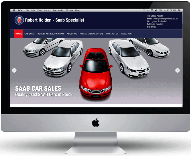 Robert Holden SAAB website design by Cameron Creative, Norwich