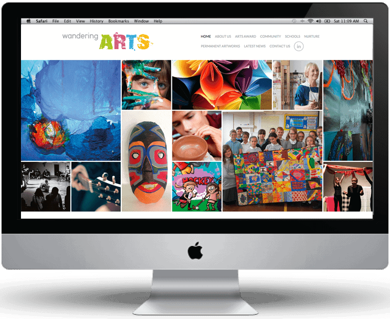 Wandering Arts website design by Cameron Creative, Norwich