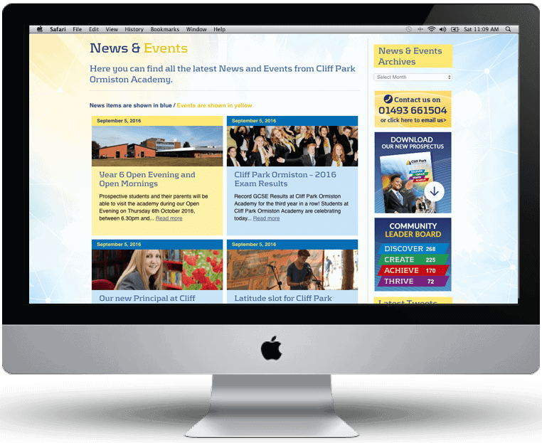 Academy Website design by Cameron Creative, Norwich