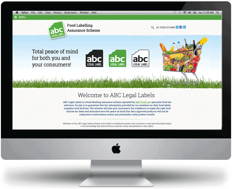 ABC Legal Labels Website design by Cameron Creative, Norwich