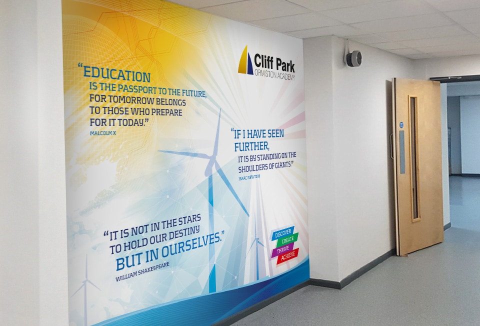 School Wallscape for Cliff Park Ormiston Academy by Cameron Creative, Norwich