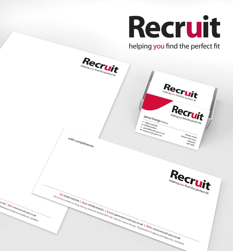 Branding, Logo and Stationery designs for Recruit You.