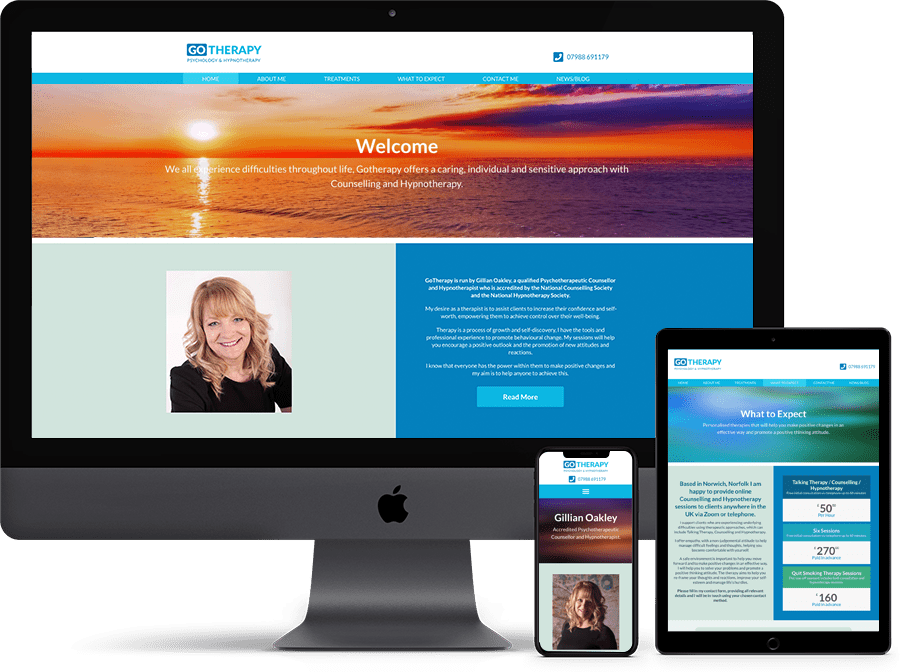 GoTherapy Website Design by Cameron Creative, Norwich